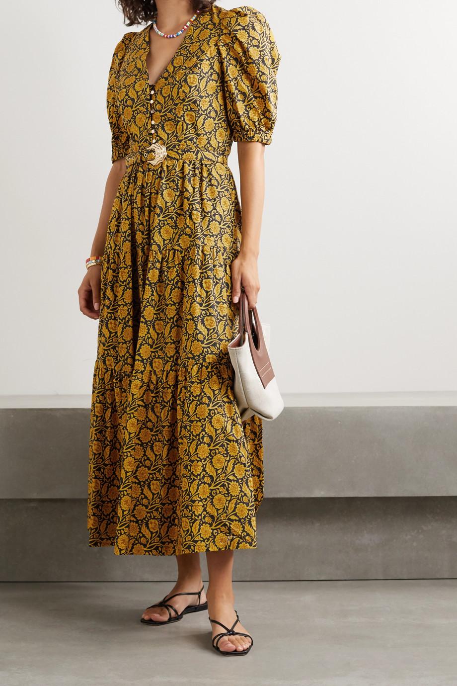 NICHOLAS Celie tiered printed cotton-poplin maxi dress