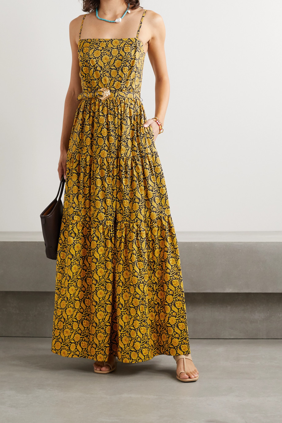 NICHOLAS Kerala belted printed cotton-poplin maxi dress