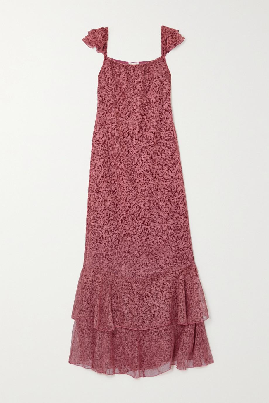 Eywasouls Malibu Cindy tiered polka-dot chiffon maxi dress