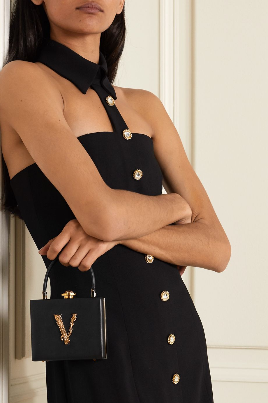 Versace Virtus embellished leather tote