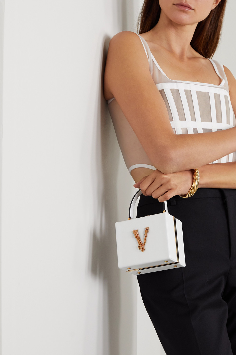 Versace Virtus embellished leather tote