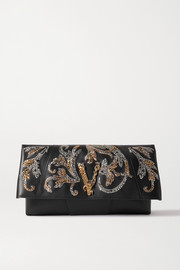 Versace Virtus sequin-embellished leather clutch
