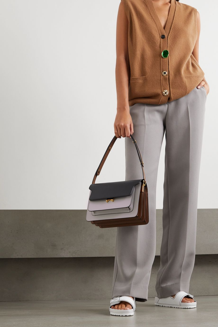 Marni Trunk medium color-block leather shoulder bag