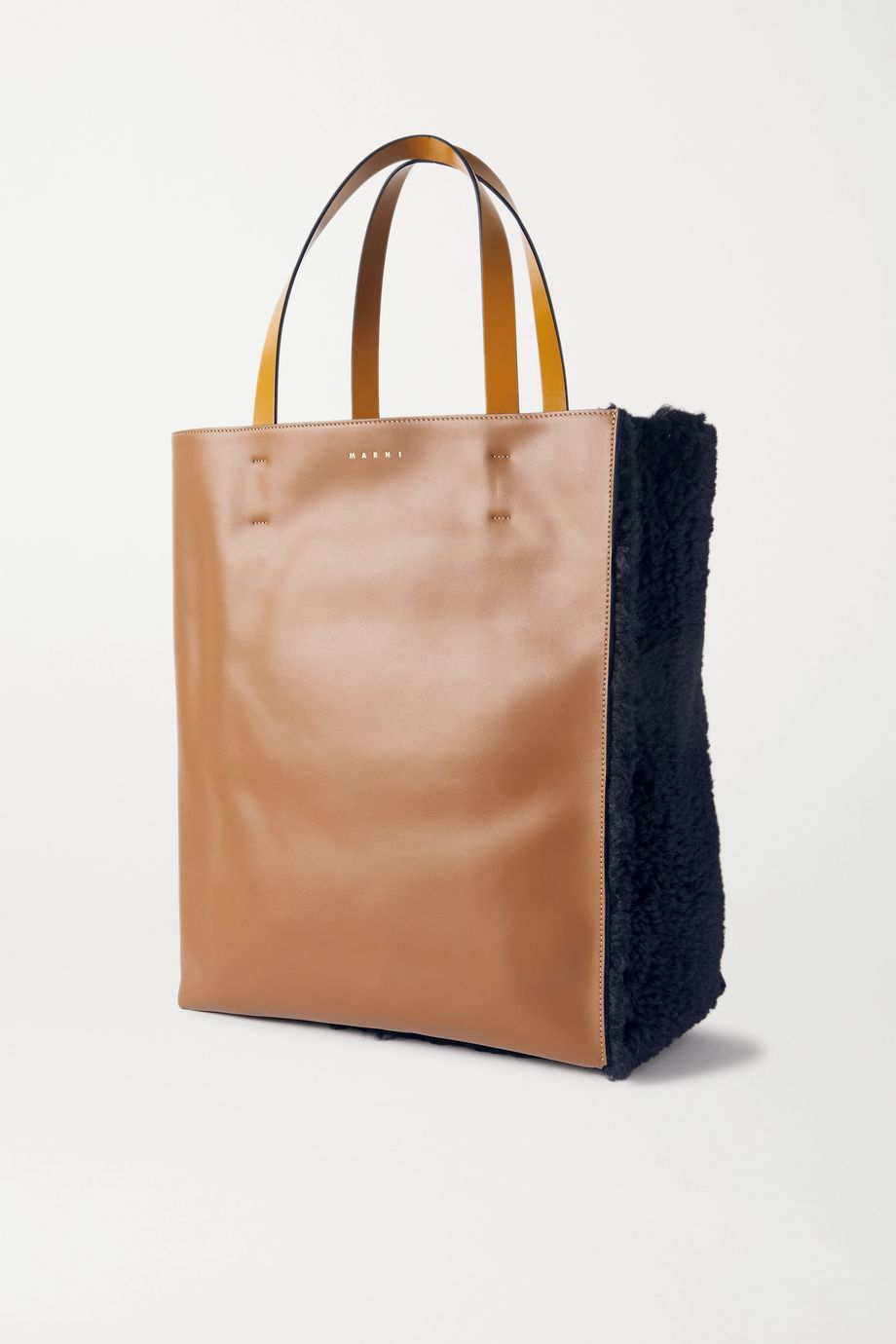 Marni Museo shearling and leather tote