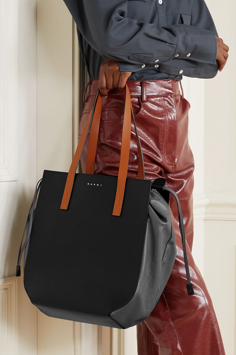 Marni Gusset color-block leather tote