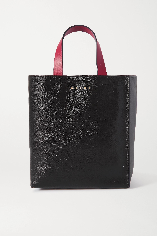 Marni Museo mini color-block crinkled-leather tote