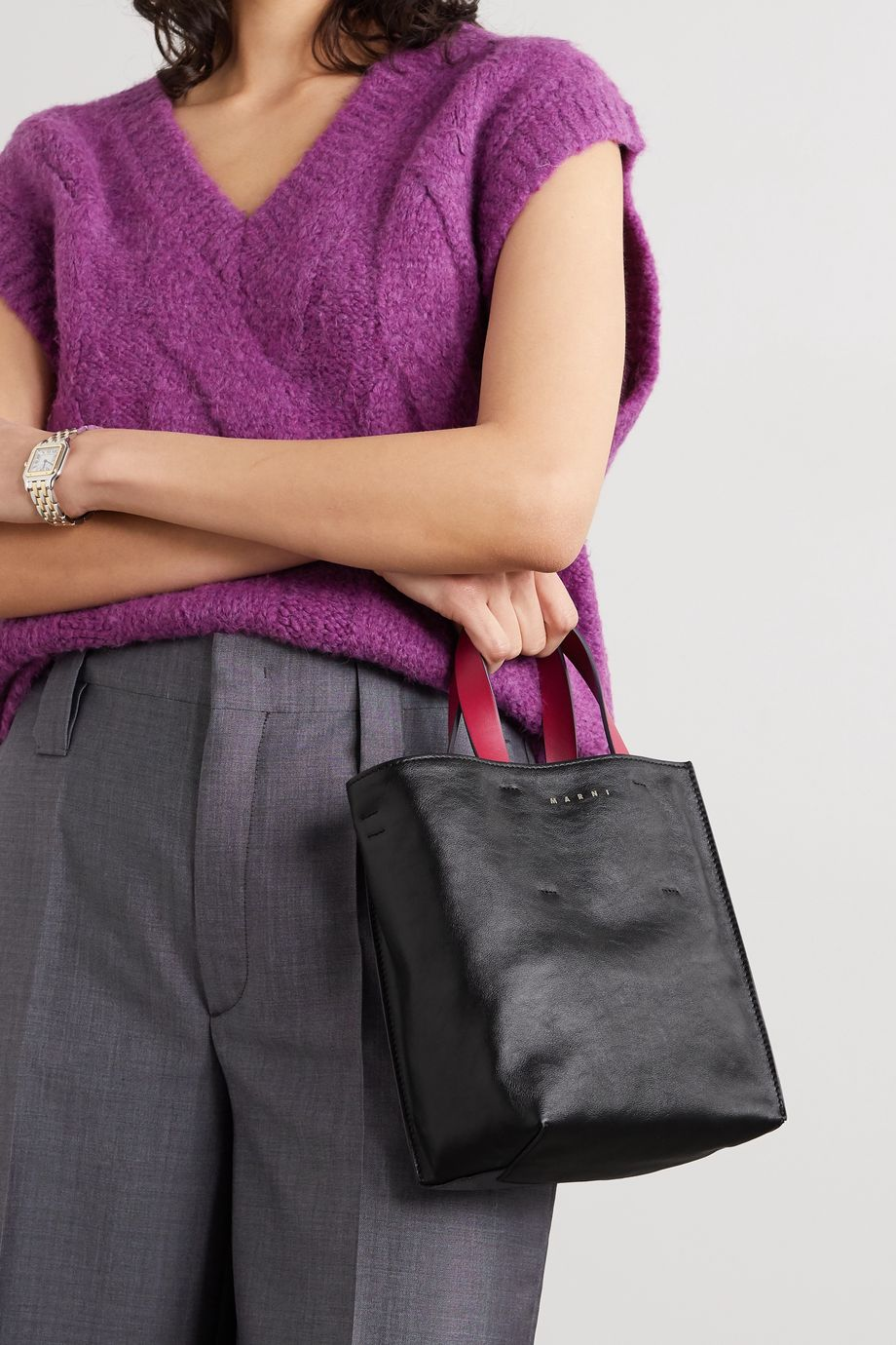 Marni Museo mini color-block crinkled-leather tote