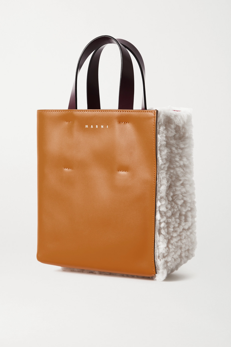 Marni Museo mini shearling and leather tote