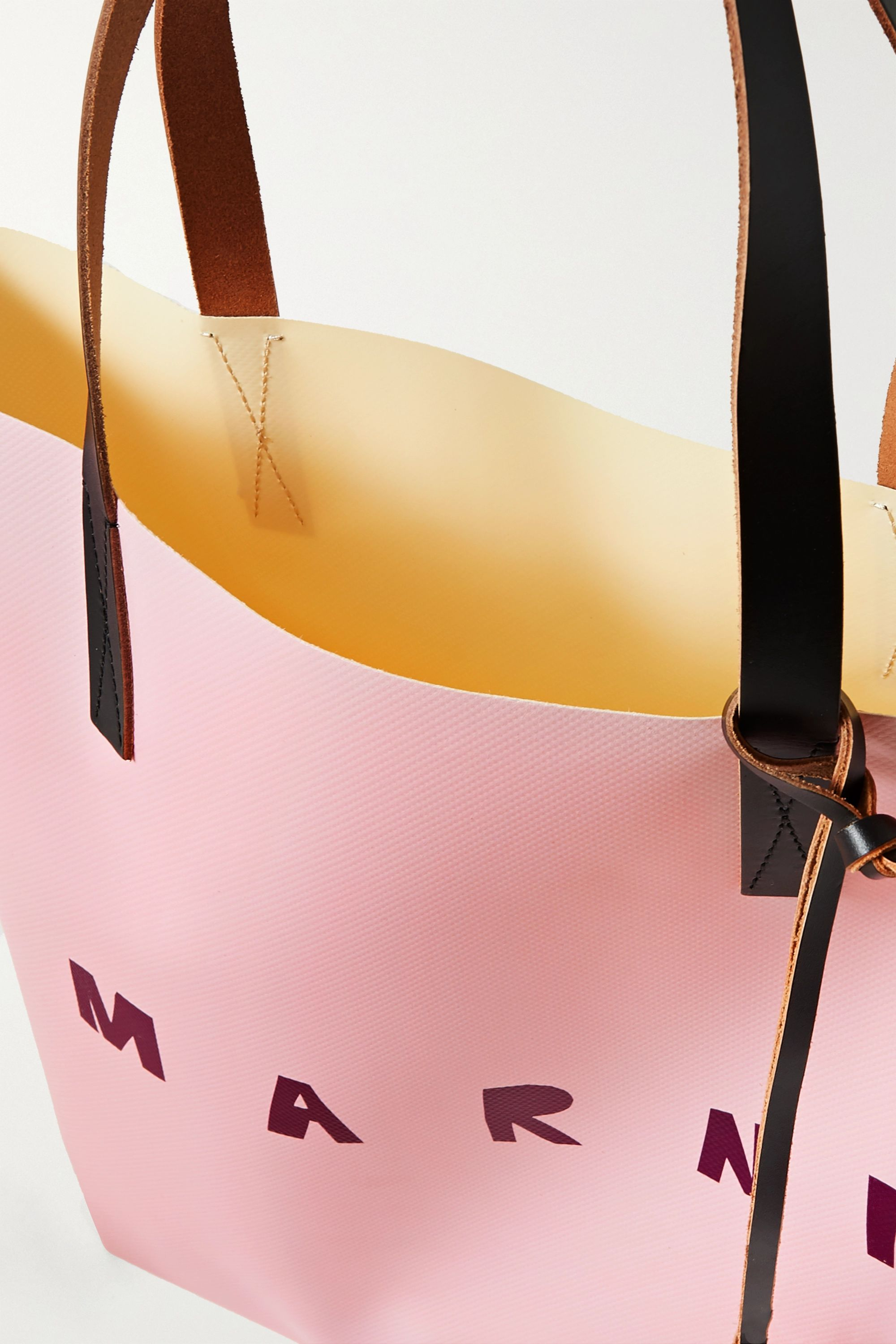 Marni Printed leather-trimmed coated-PVC tote
