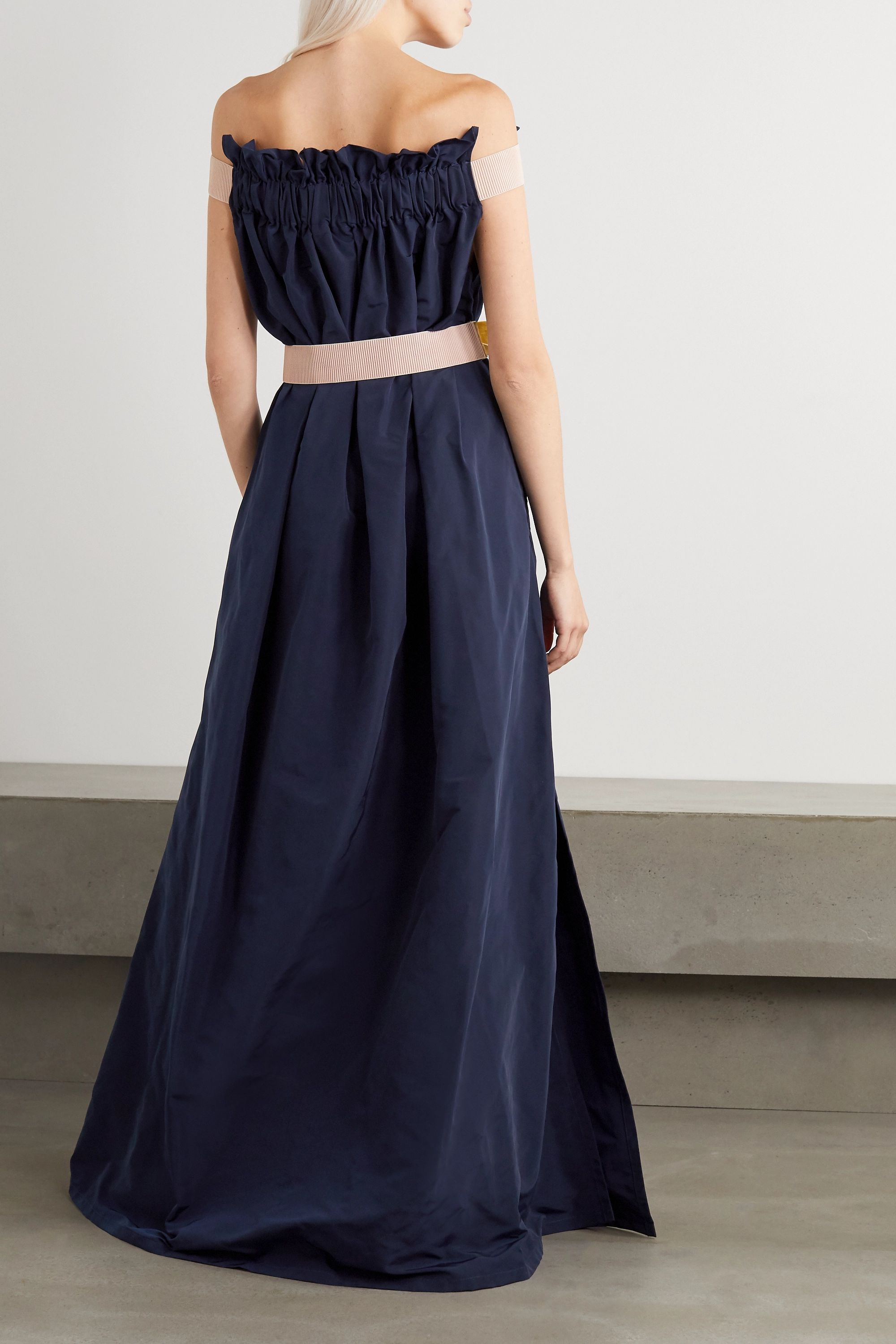 ARTCLUB Oenothera off-the-shoulder gathered taffeta maxi dress