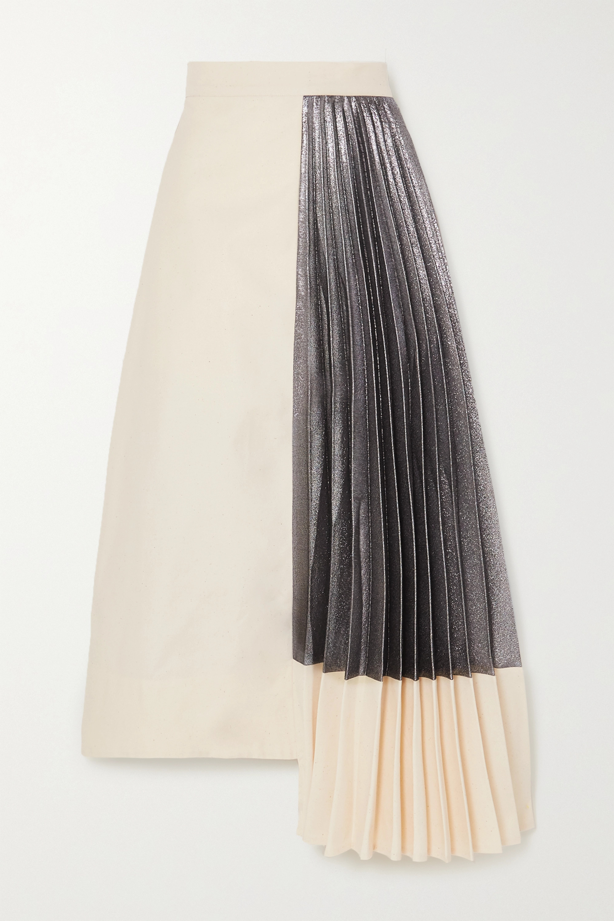ARTCLUB Hermes asymmetric pleated cotton and lamé midi skirt