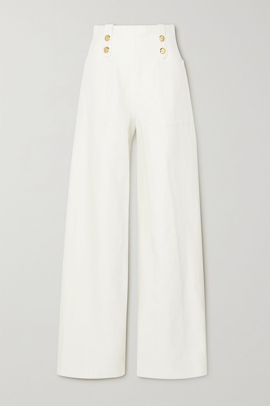 ARTCLUB Vita button-embellished cotton and linen-blend wide-leg pants