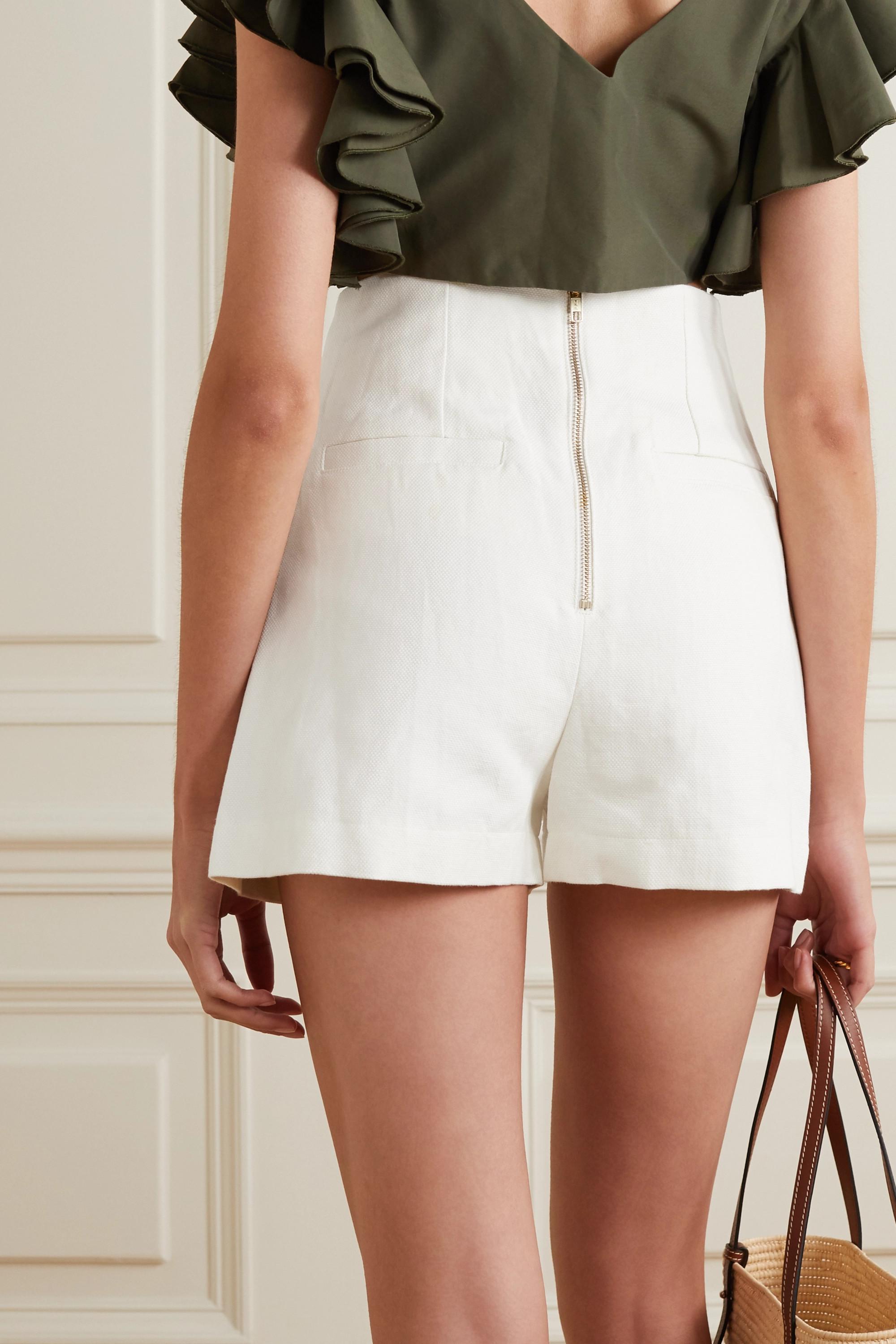 ARTCLUB Vita button-embellished cotton and linen-blend shorts