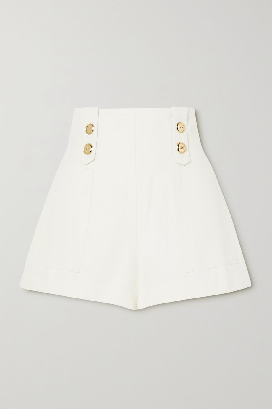 ARTCLUB Vita button-embellished cotton and linen-blend shorts