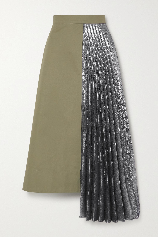 ARTCLUB Hermes asymmetric pleated cotton and lamé midi skirt