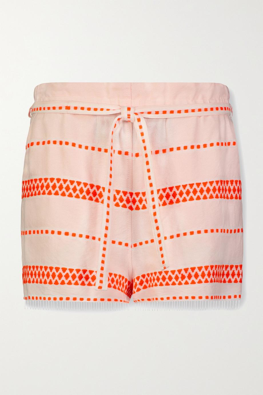 LemLem Jemari 配腰带条纹棉质混纺薄纱短裤
