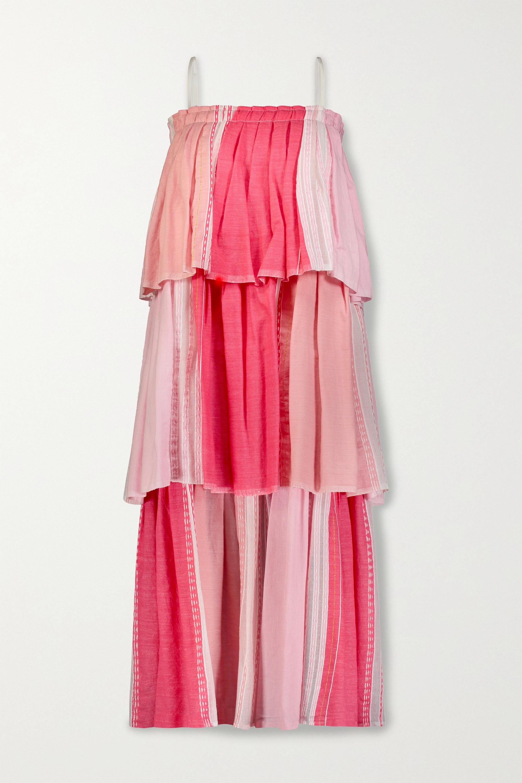 LemLem Eshal tiered embroidered cotton-blend gauze maxi dress
