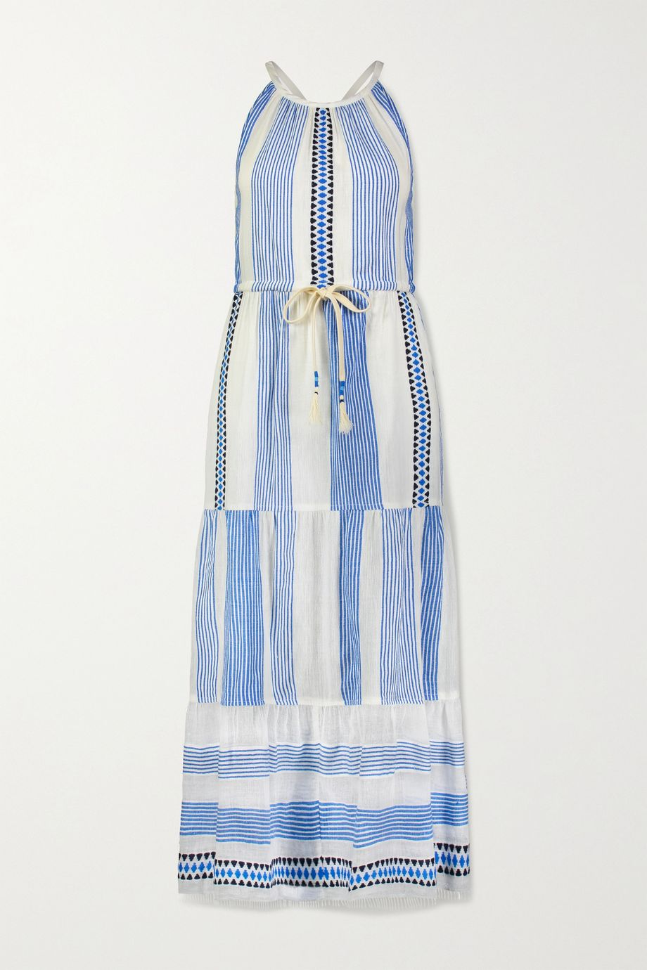 LemLem Mizan 流苏提花边饰条纹棉质混纺薄纱连衣裙
