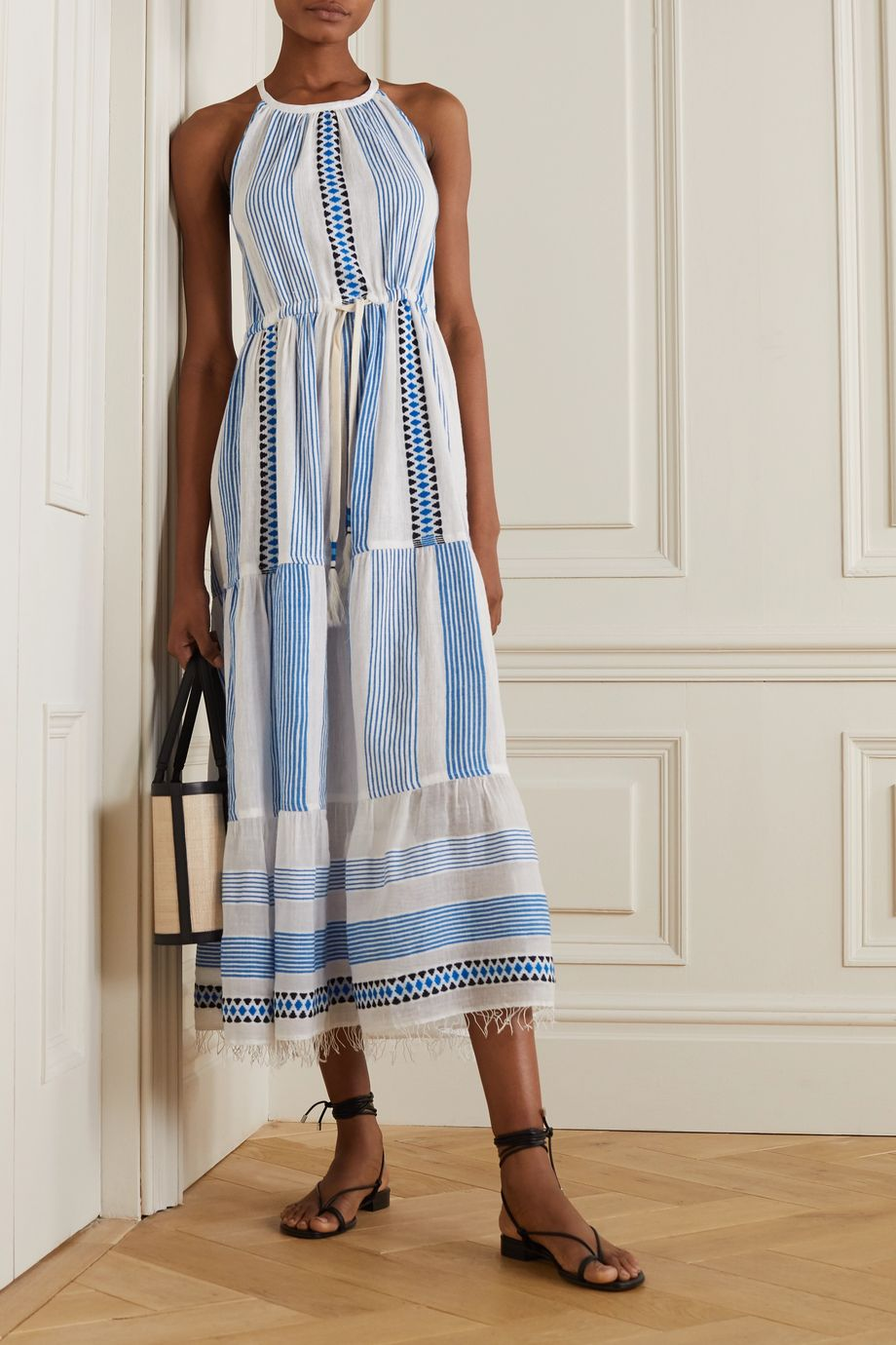 LemLem Mizan fringed jacquard-trimmed striped cotton-blend gauze dress