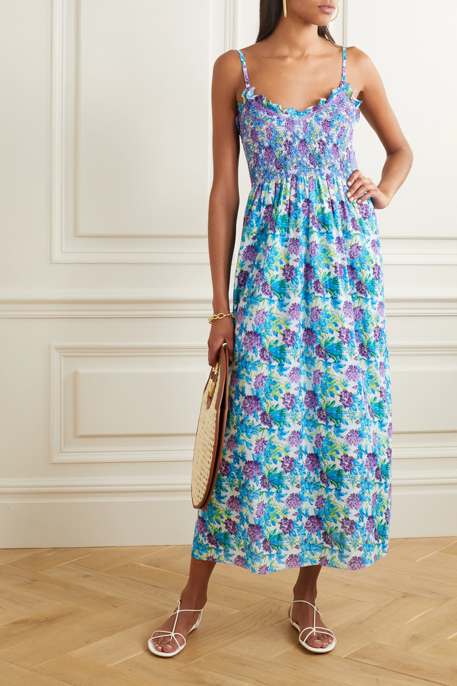 Loretta Caponi Bianca ruffled smocked floral-print cotton-voile midi dress