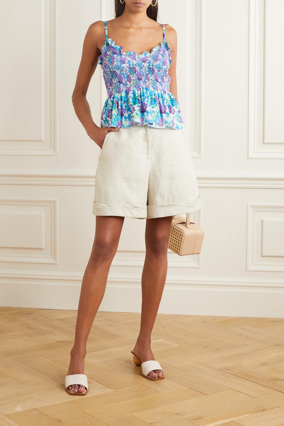 Loretta Caponi Vera ruffled smocked floral-print cotton-voile camisole