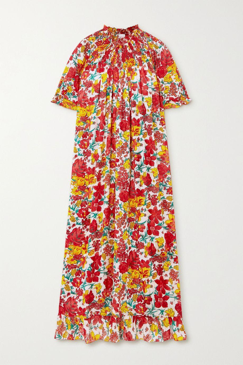 Loretta Caponi Robe midi en voile de coton à imprimé fleuri, smocks et volants Loretta