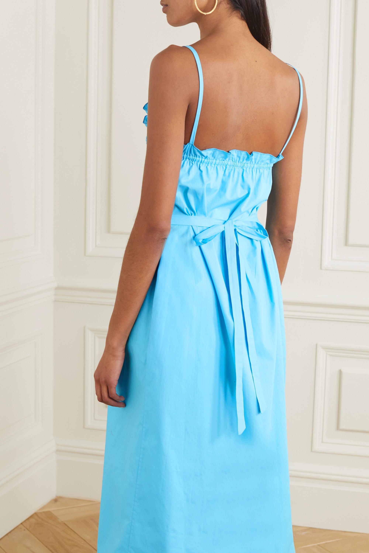 Loretta Caponi Bianca ruffled smocked cotton-voile midi dress