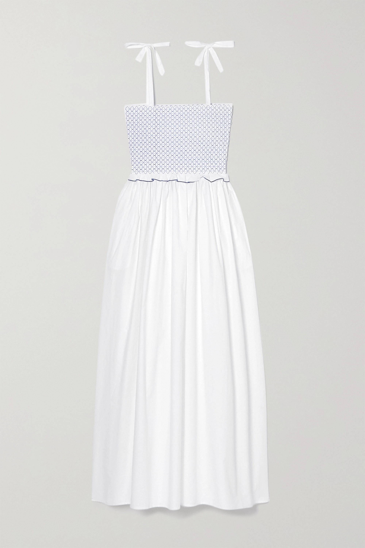 Loretta Caponi Luisa embroidered shirred cotton-poplin midi dress