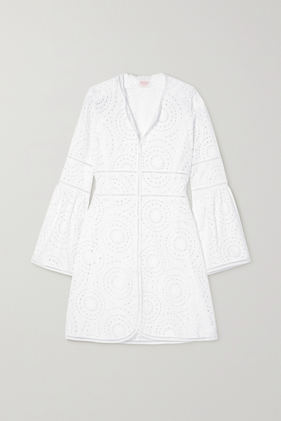 Loretta Caponi Giulia broderie anglaise cotton mini dress
