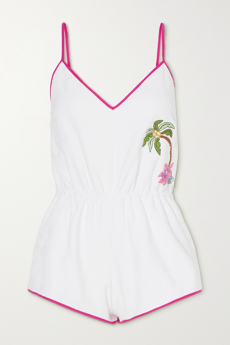 Loretta Caponi Anita embroidered cotton-terry playsuit