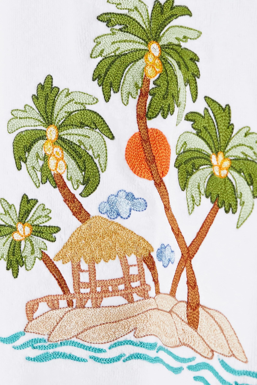 Loretta Caponi Sara belted embroidered cotton-terry kimono