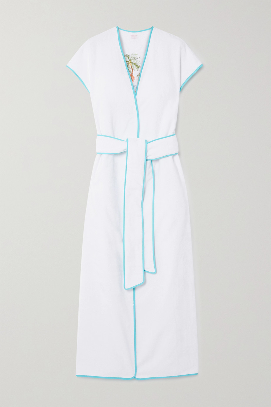 Loretta Caponi Sara belted embroidered cotton-terry kimono