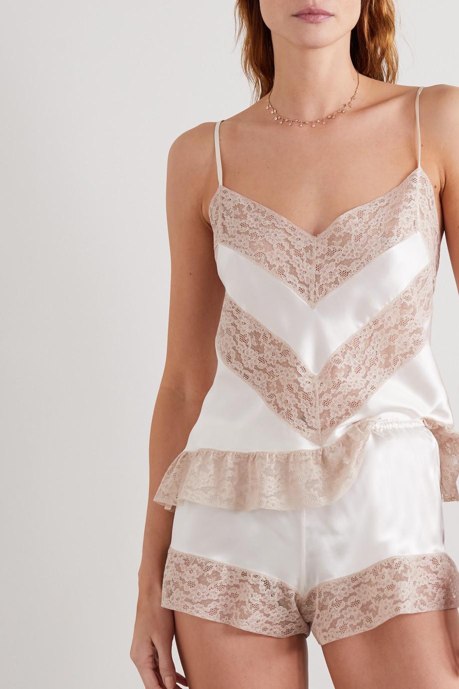 Loretta Caponi Lace-trimmed silk-satin pajama shorts