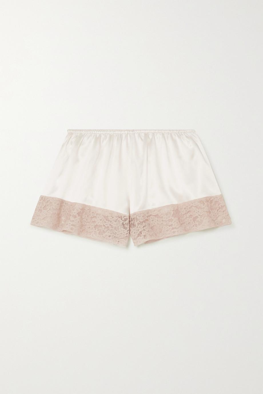 Loretta Caponi Pyjama-Shorts aus Seidensatin mit Spitzenbesätzen