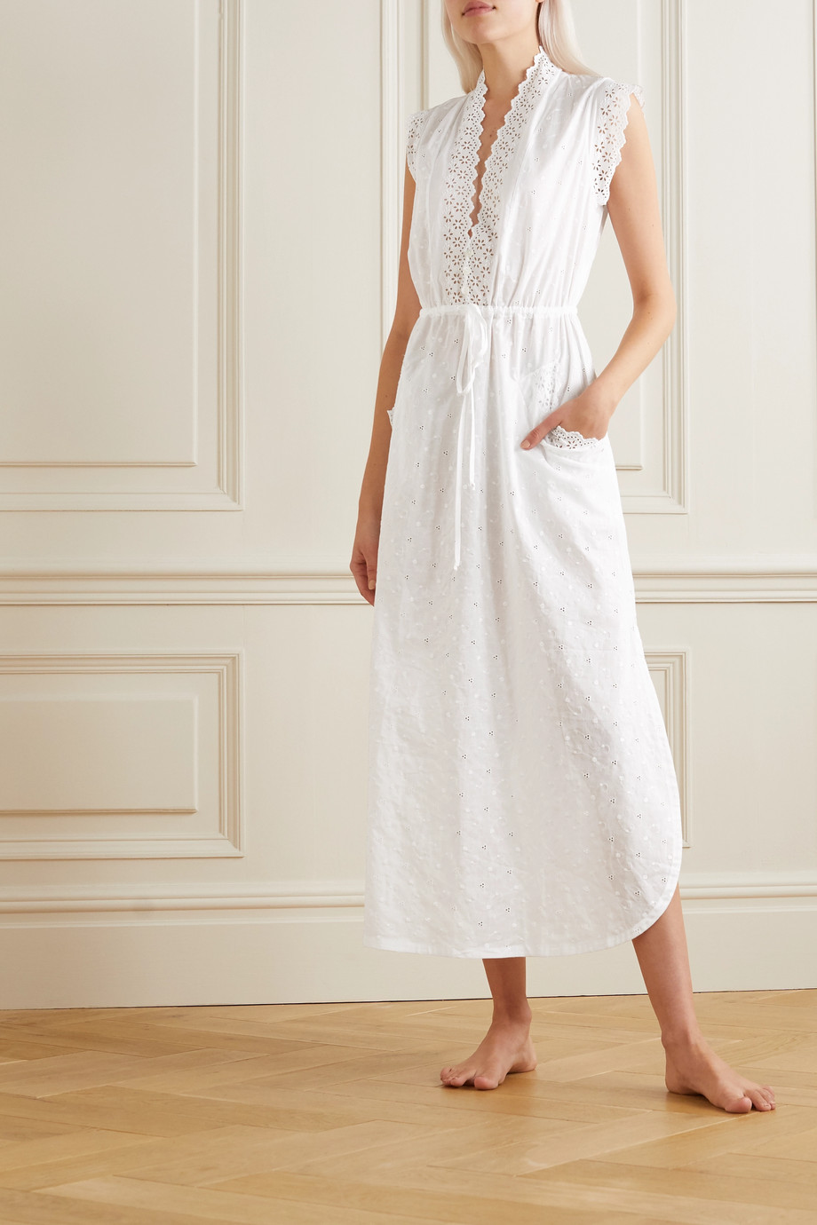 Loretta Caponi Gina lace-trimmed embroidered cotton maxi nightdress