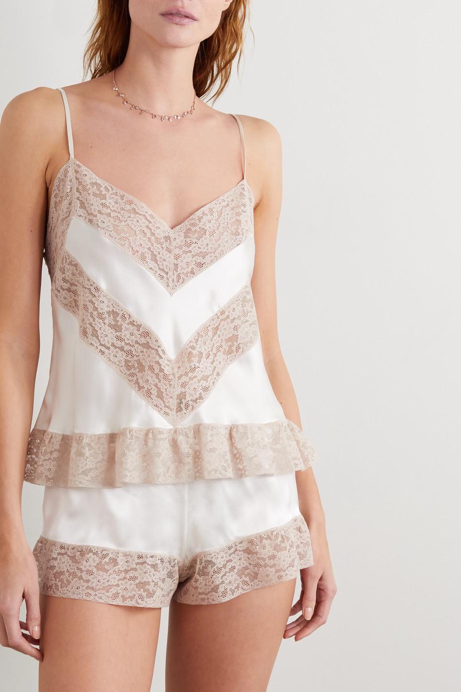 Loretta Caponi Lace-trimmed silk-satin camisole