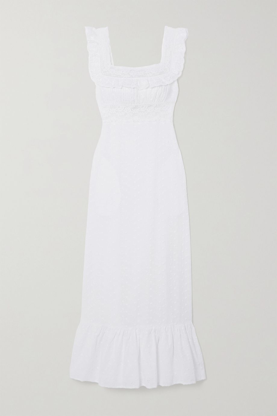 Loretta Caponi Margherita lace-trimmed broderie anglaise cotton-voile nightdress