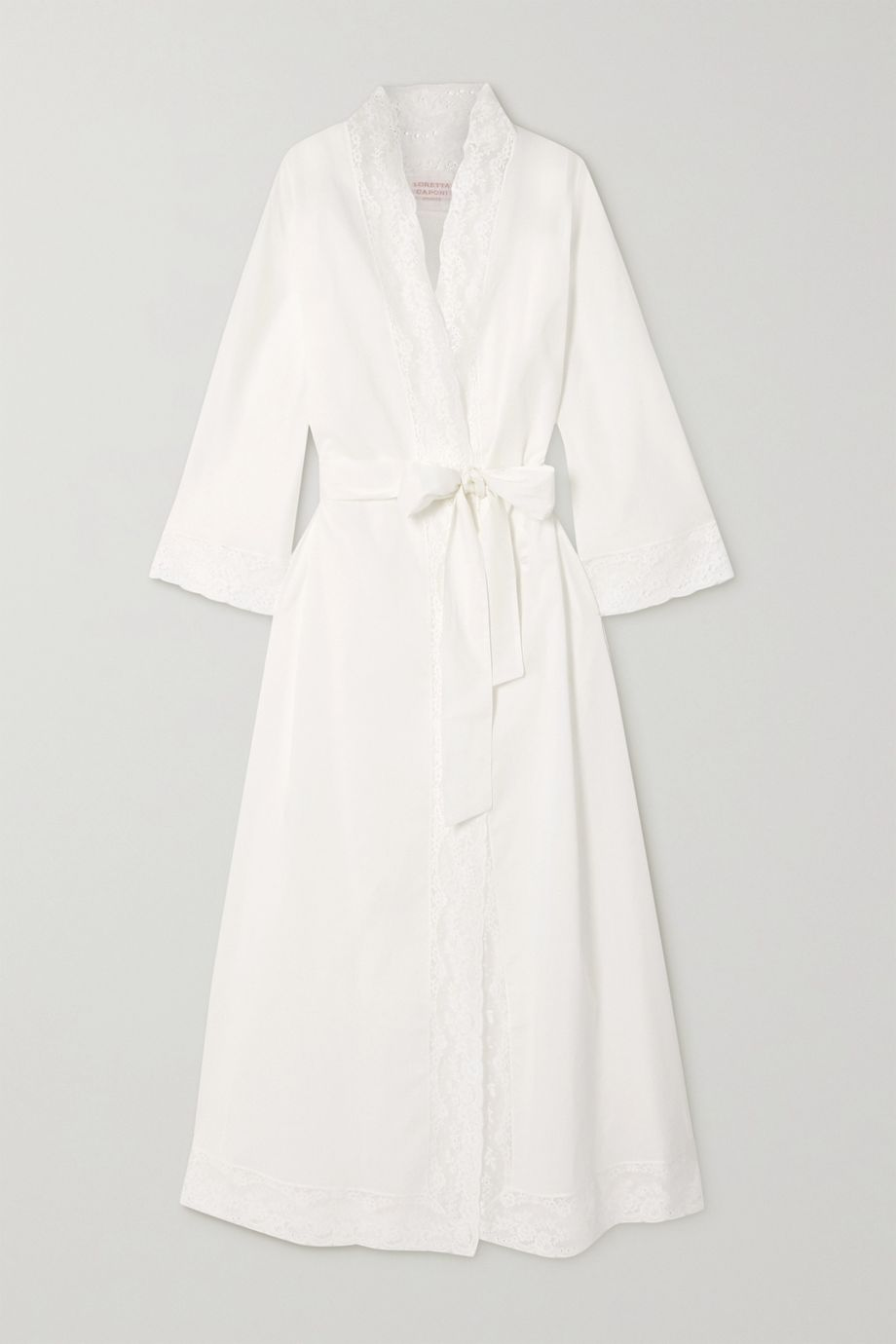 Loretta Caponi Lace-trimmed cotton-voile robe