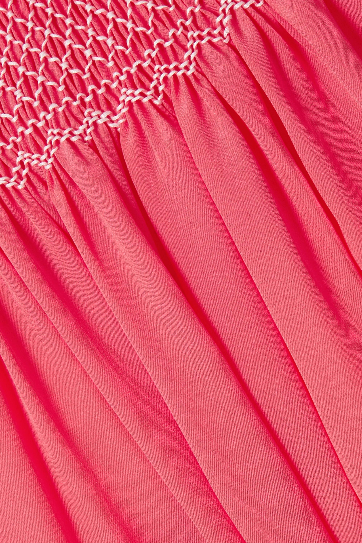 Loretta Caponi 配腰带皱褶装饰真丝双绉睡裙