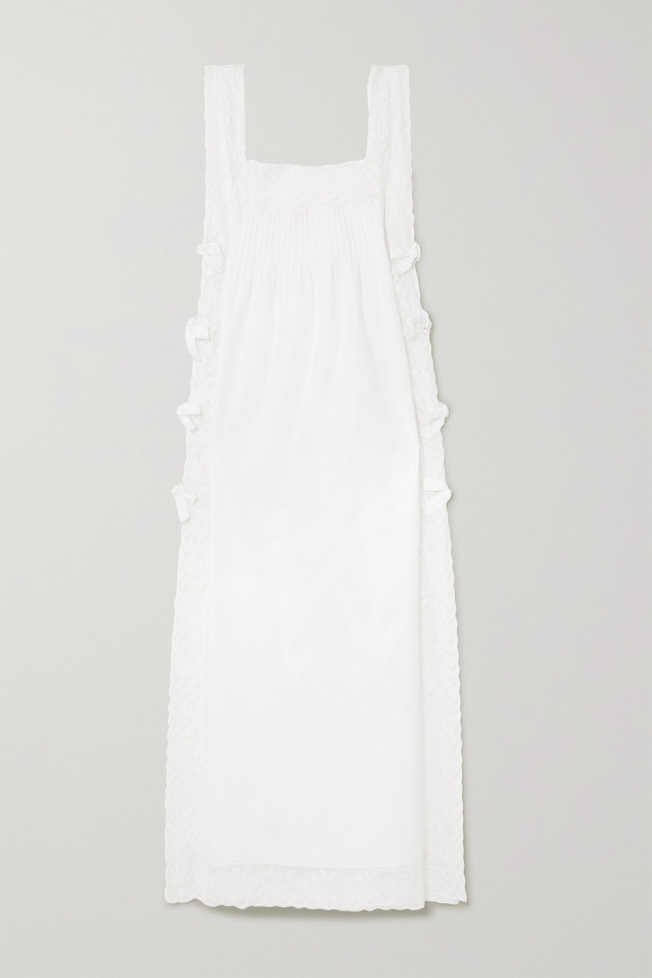 Loretta Caponi Lace-trimmed cotton nightdress