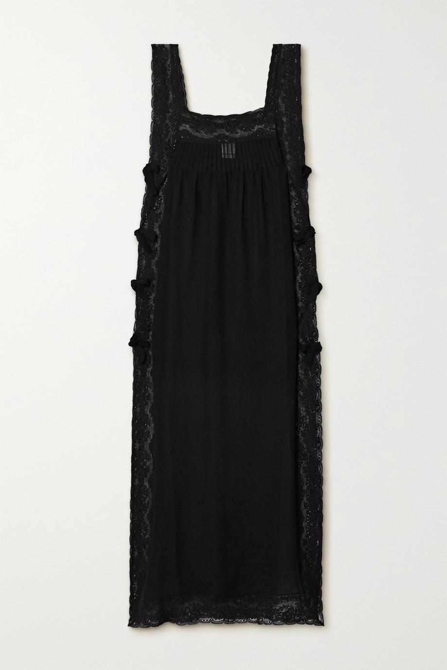 Loretta Caponi Fiocchini lace-trimmed silk-georgette nightdress