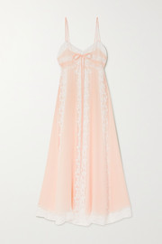 Loretta Caponi Lace-paneled silk-georgette nightdress