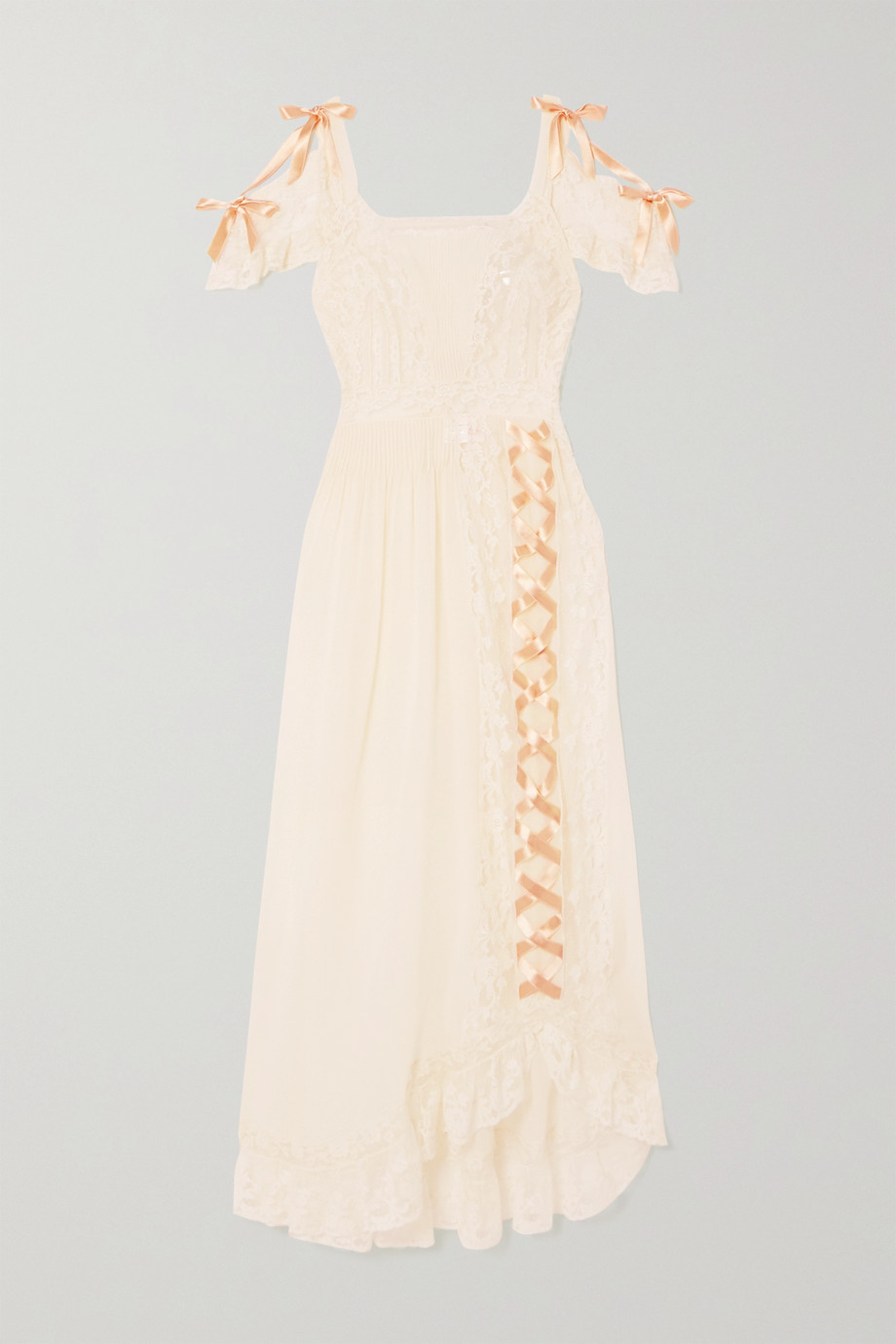 Loretta Caponi Agnes lace-trimmed silk-georgette nightdress