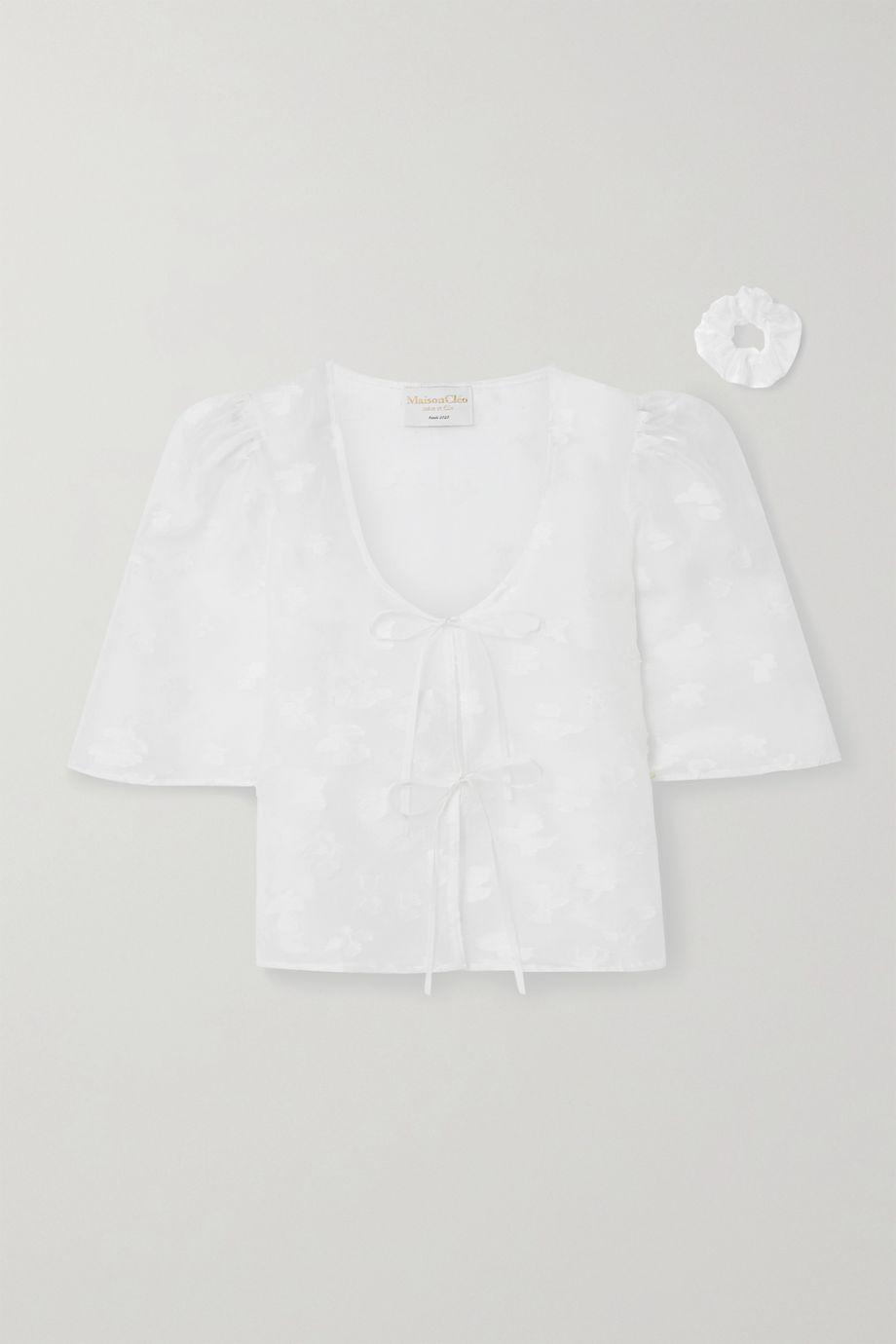 MaisonCléo Agnès silk and linen-blend fil coupé organza blouse