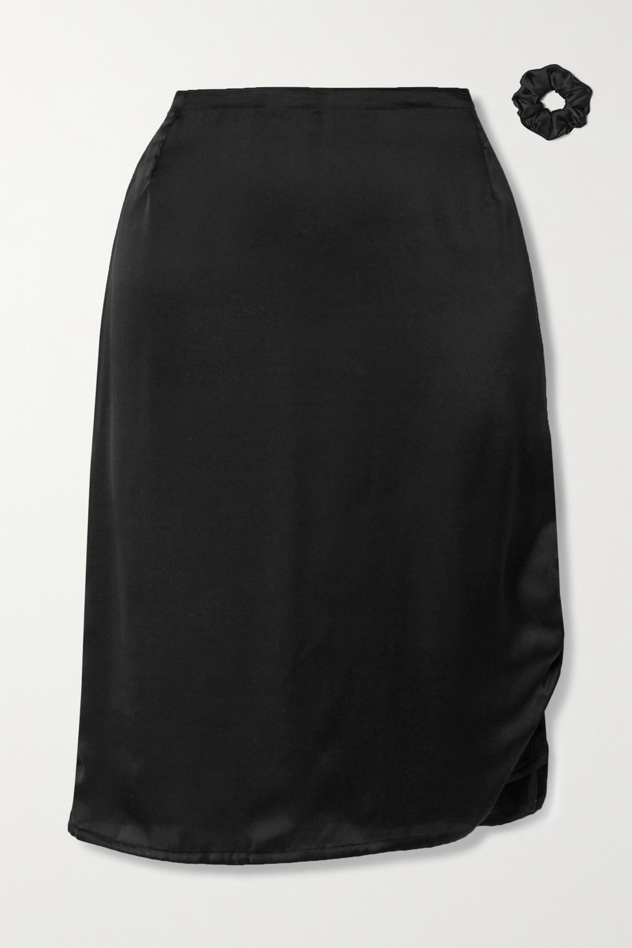 MaisonCléo Laurane ruched silk-satin midi skirt
