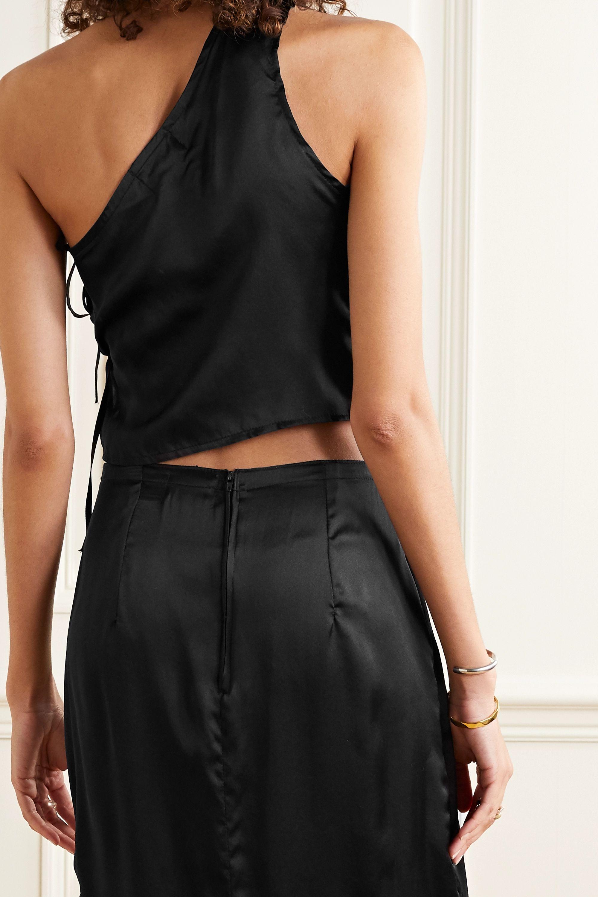 MaisonCléo Laura one-shoulder silk-satin top