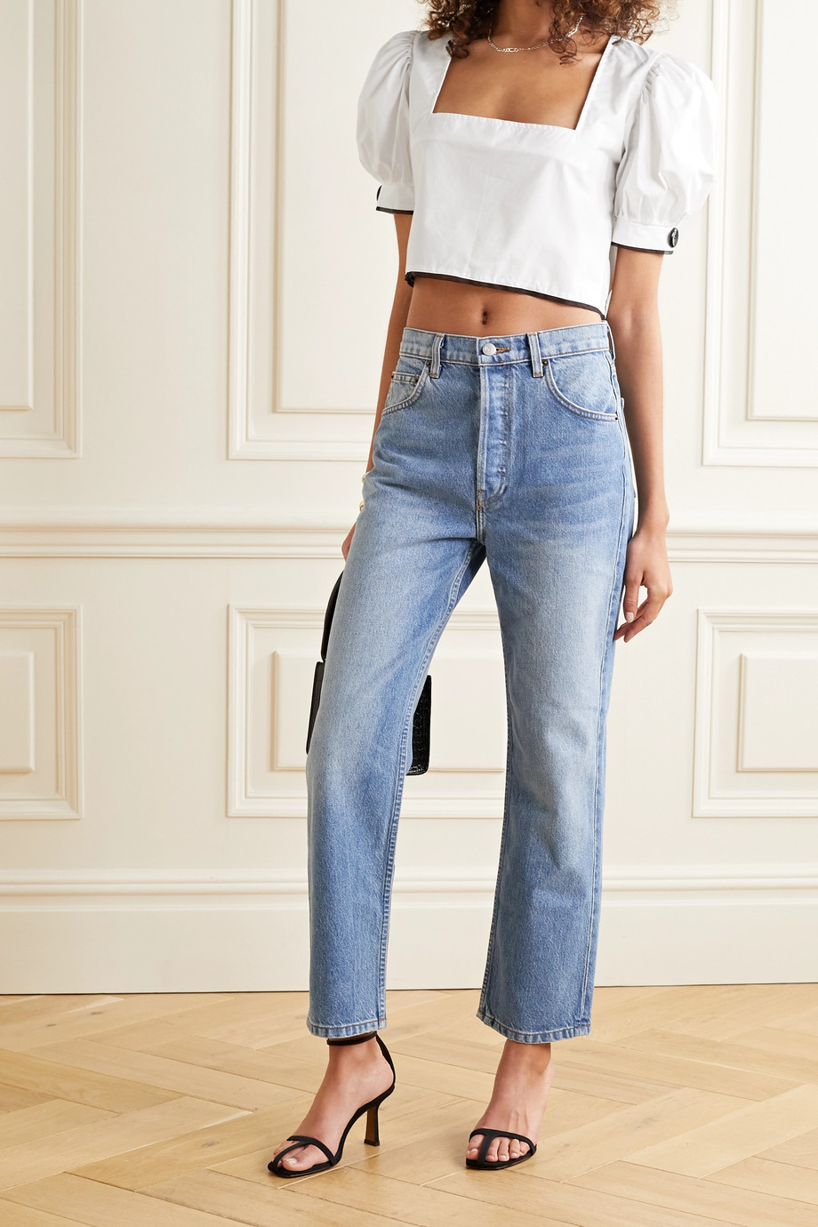 MaisonCléo Ernika cropped organza-trimmed cotton-poplin blouse