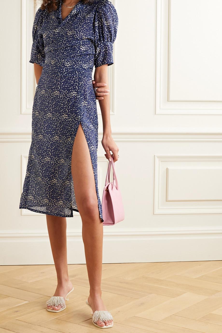 MaisonCléo Marthe printed silk-crepe midi skirt