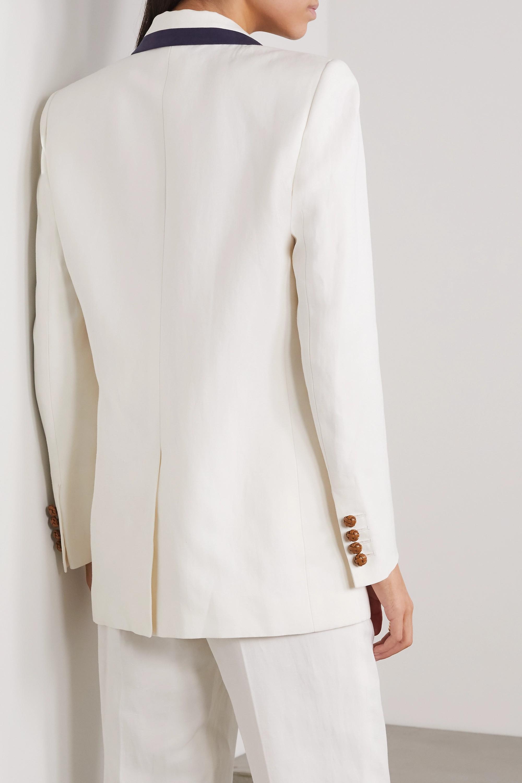 Blazé Milano Savannah double-breasted two-tone linen and silk-blend blazer