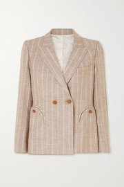 Blazé Milano Wind Hunter Charmer double-breasted pinstriped grain de poudre blazer